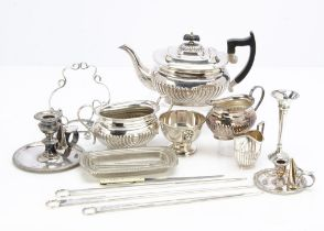 A collection of Victorian and later silver and silver plate, including a cased set of 800 marked