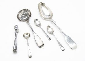 A late Georgian silver tablespoon, together with a silver sifter spoon, tongs and three small