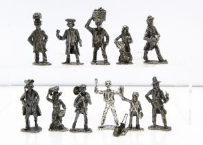 A collection of eleven modern silver 'Cries of London' figures, tallest 6cm high