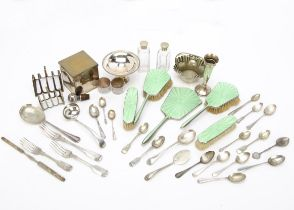 A collection of silver and silver plate, including a five piece silver enamelled dressing table set,