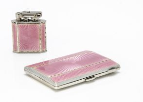 A nice Art Deco period silver and enamelled cigarette case and lighter set by Alexander Clark & Co