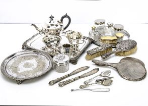 A group of silver and silver plate, including several dressing table items such as silver and