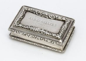 A George IV silver snuff box by Nathanial Mills, 7.5cm wide and 3.45 ozt, having engraved