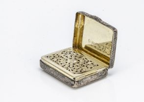 A George IV silver vinaigrette by Nathanial Mills, rectangular, 4.2cm, with engine turned exterior