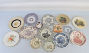 A large quantity of decorative plates, including a set of six Crown Ducal Bristol plates, Burleigh