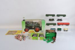 Two OO Gauge Hornby locomotives, together with various wagons, coaches and track. Together with a RC