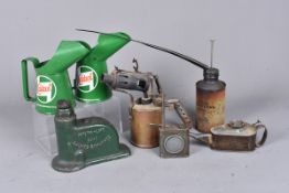 A collection of automotive related items, to include two small Castrol oil cans, Weber-Hydraulik