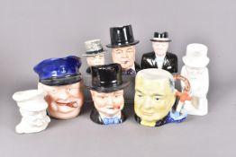 Mid 20th Century Winston Churchill toby/Character jugs, comprising Copeland Spode cream glazed