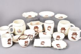 A group of early-mid 20th Century Winston Churchill ceramics, all with the same design of Winston