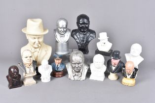 A group of Winston Churchill busts, in various medium, comprising resin, plaster, and more,