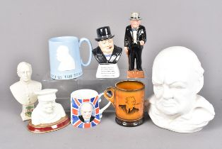 A collection of Mid- 20th Century ceramics, to include a Sylvac Ware bust, a Lancaster Sandland