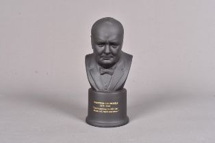 A Wedgwood Black Basalt bust of Sir Winston Churchill, modelled by Arnold Machin R.A, number 489,