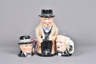 A large Royal Doulton Character jug of Churchill, marked 8360 to the base, together with two smaller