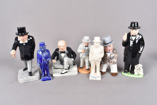 A group of ceramic Churchill figures, comprising Bairstow Manor Pottery No.1 from Political