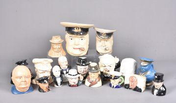 An assortment of Winston Churchill items, including Character Jugs, salts, busts and more, plus a