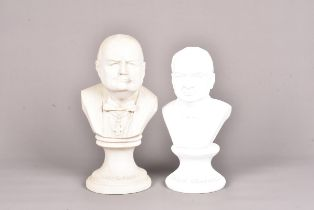 A reconstituted marble bust of Winston Churchill, bearing Churchill name to lower, 32cm high,