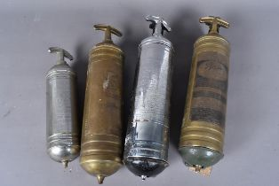 A group of six vintage hand pump fire extinguishers, to include Pyrene Type P1, Fire-Gun and