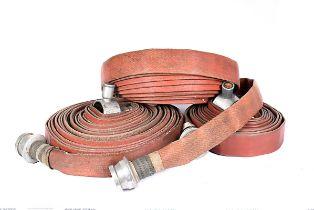 Three vintage 1960 Fire Hoses, various lengths