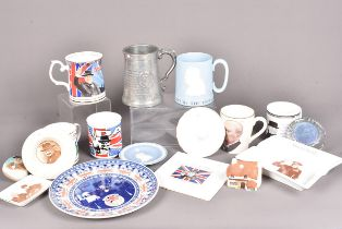 An assortment of Churchill related items, to include an early pin tray by Lancasters, an ashtray