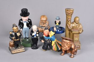 An Ezra Brooks china decanter in the form of Churchill on a podium, together with a selection of