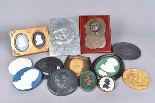 A collection of wall plaques and other items, to include a framed Wedgwood duo, a black basalt