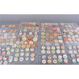A collection of vintage cardboard milk bottle tops, including Valley View Farms Fruit Punch,