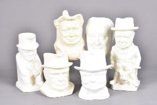 A collection of Winston Churchill jugs, all with white/cream glaze, to include a Burslem jug with