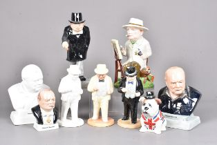 An assortment of Bairstow Manor Pottery Winton Churchill figures, to include Winston the Artist,
