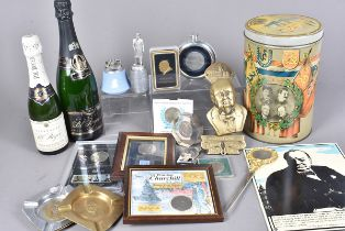 A collection of Churchill related items, to include two display bottles of Pol Roger champagne, a