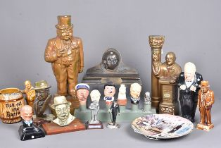 A heavy iron door stop in the form of Churchill, together with a selection of other items,