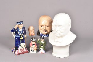Kevin Francis, a selection of ceramic of Winston Churchill, to include a large white/cream bust 51/