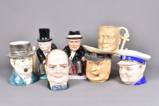 A group of seven Winston Churchill jugs, to include Staffordshire Fine Limited Edition 44/1000,