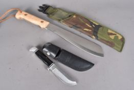 A 1993 military issue Machete, marked 17-9944, with sheath, together with a Buck No.3 knife, also
