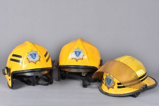 Late 20th Century Royal Berkshire Fire & Rescue Service fire Helmets, two being Pacific F7's the