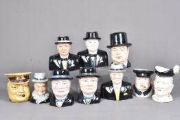 A selection of Winston Churchill character jugs, to include maker's, Royal Winton, Carlton Ware,