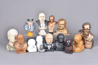 A collection of Winston Churchill busts, comprising of various mediums, including plaster, wood,