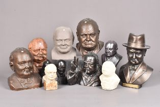 An assortment of busts of Churchill, of various medium, to include a plaster example with