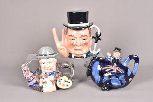 Three Winston Churchill ceramic tea pots, comprising a Carlton Ware Limited Edition example, 8/