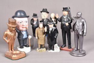 An assortment of Winston Churchill Figures, made from various medium, including ceramic, resin, wood