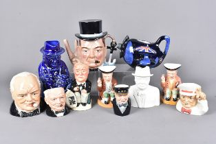 An assortment of mid-late 20th Century ceramics, including a Staffordshire teapot of Winston