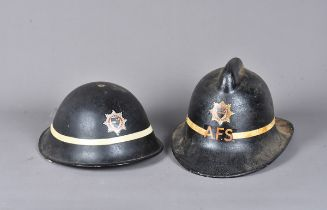 An early 20th Century Surrey Fire Brigade Turtle helmet, with single white stripe, complete with