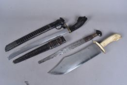 A group of three African knives, comprising a large machete style knife with bone handle and