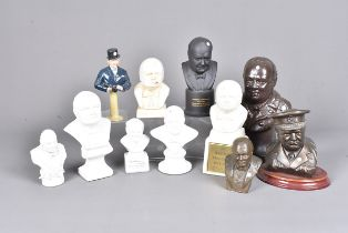Various busts of Sir Winston Churchill, including A Wedgwood example modelled by Arnold Machin,