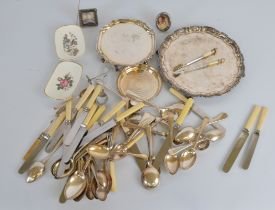 A collection of silver plate, including a pair of novelty Victor of Scotland pickle fork and