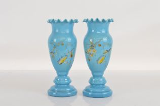 A pair of opaque glass vases with applied decoration, 24.5cm tall