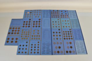 Nine Great Britain coin collector folders, including Pennies, Halfpennies, Farthings, Brass