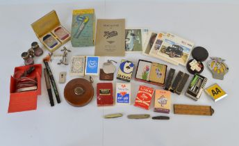 A mixed lot of collectables, including vintage playing card decks and dice sets, Magazine of The