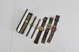 Two Swatch Pop watches, together with another bracelet, two other Swatch wristwatches and a boxed