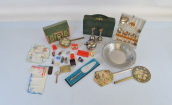 A mixed lot of collectables, including a hallmarked silver cake knife, an Alessi stainless steel