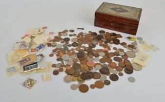 A quantity of assorted British and foreign coins, including Victorian pennies, etc, together with